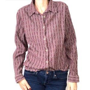 Columbia Women's Purple button down shirt  Lg (C5)